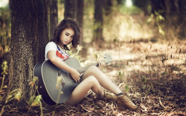 girl, girls, girl, girls, Asian, guitar, nature, trees, shoes