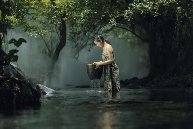 Таиланд, речка, женщина, рыбалка, корзина