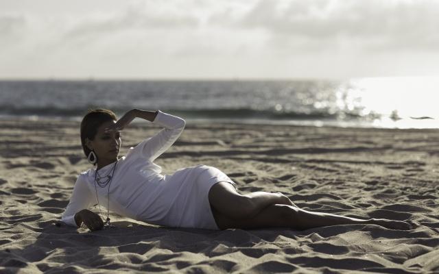 Наташа Domonique, платье, море, песок, пляж