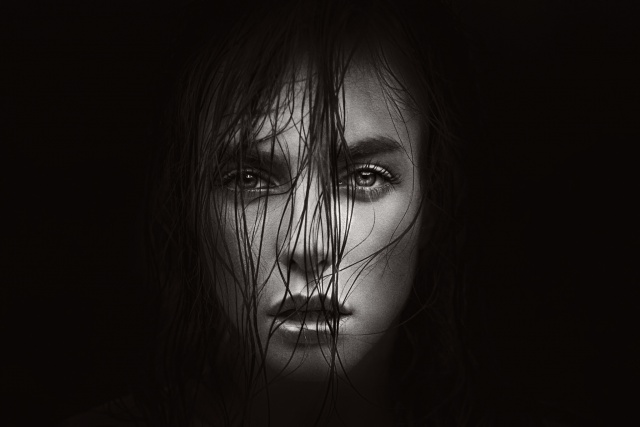 face, black and white background, girl, view, hair, creative, Pro photo, George Chernyad'ev