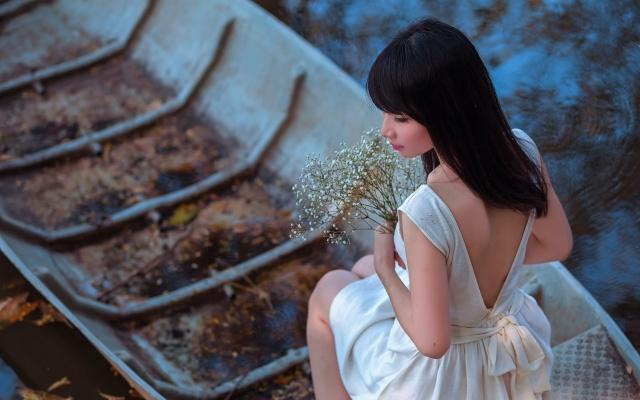 girl, pose, boat, flowers
