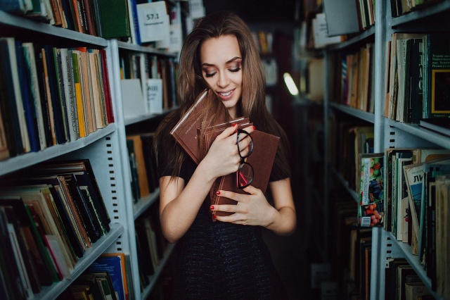 girl, brown hair, posing, library
