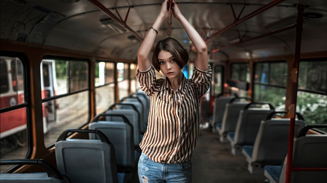 the bus, brown hair, Olga Pushkin, the city