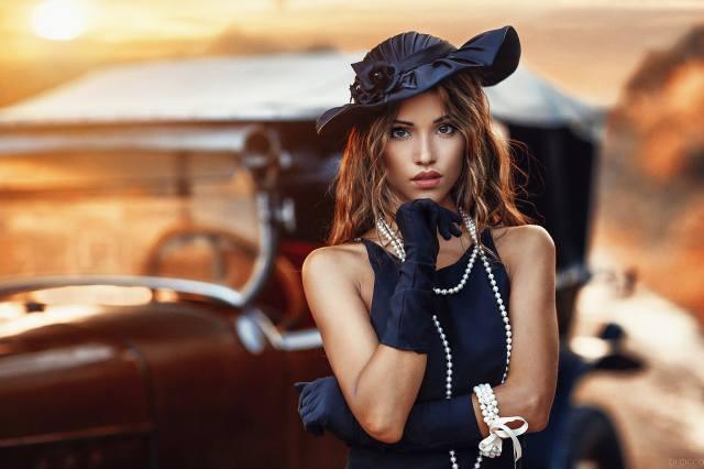 дівчина, модель, фотограф, Alessandro Di Cicco, портрет, захід, намисто, капелюшок, погляд