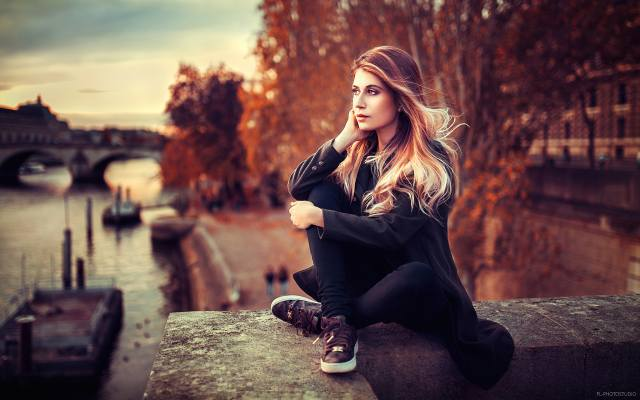 holka, model, fotograf, Lods Franck, portrét, podzim, Paříž