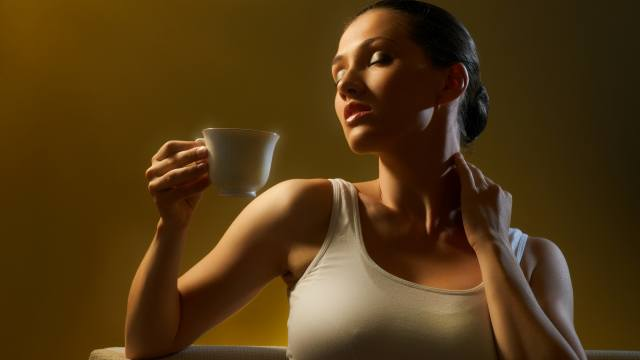 Coffee, Cup, girl, t-shirt, delicious