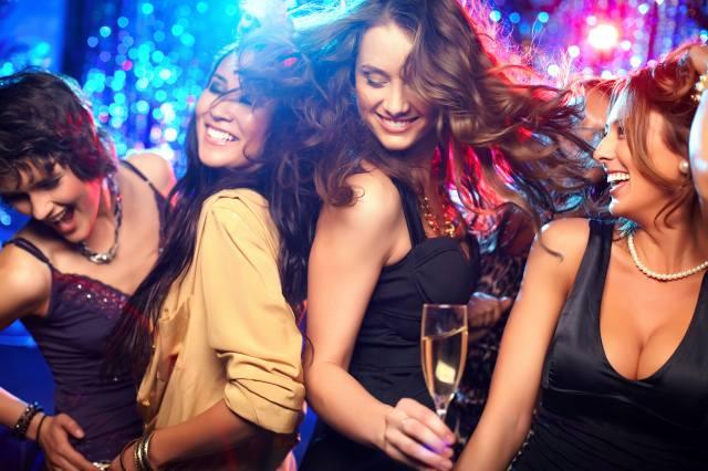 dívky, klub, foto, pozitivní, náladu