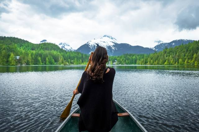 girl, boat, the rest, the lake, mountains, nature, beautiful