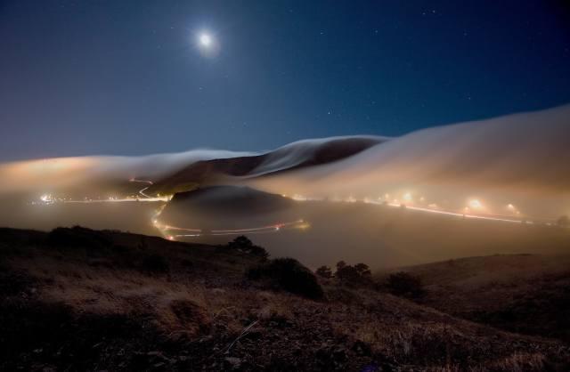 фото, ночь, холмы, дороги, туман, небо, луна