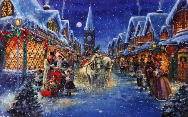 Christmas, evening city, winter, snow, holiday, Stewart Sherwood