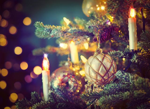 holiday, New year, Christmas, tree, branches, Toys, balls, candles, bokeh