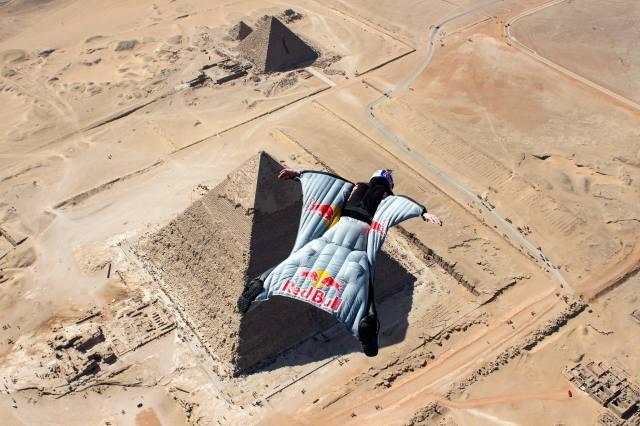 Pyramidy, Гизе, Egypt, парашютист, přilba, ВИНГСЬЮТ, poušť
