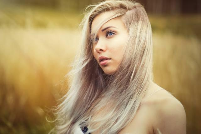 девушка, модель, блондинка, взгляд