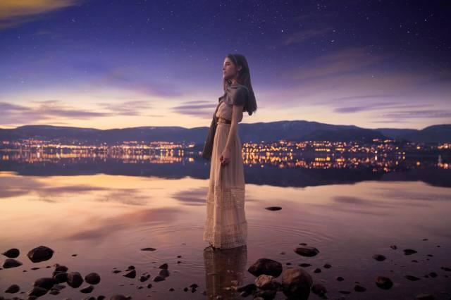girl, the lake, lights, the city, night, 3d, bokeh