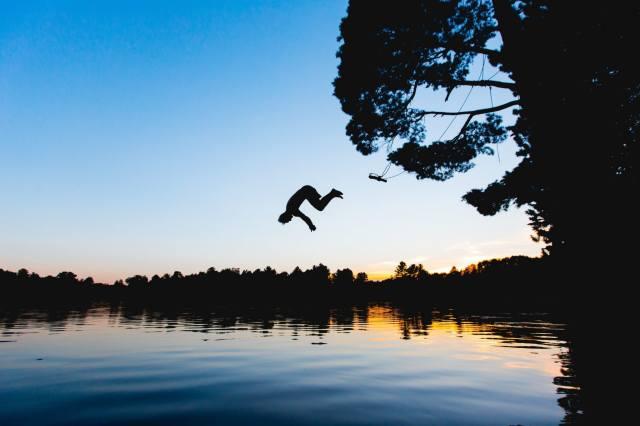 foto, jezero, večer, skok, léto, dovolená