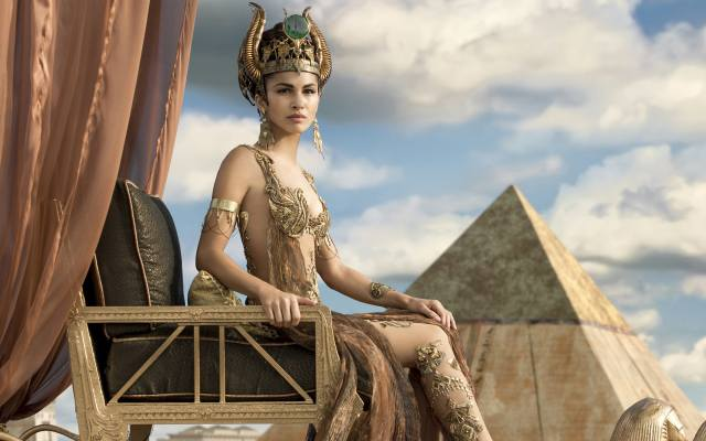 chair, fantasy, curtains, pyramid, decoration, outfit, Элоди Юнг, Elodie Yung, Gods of Egypt