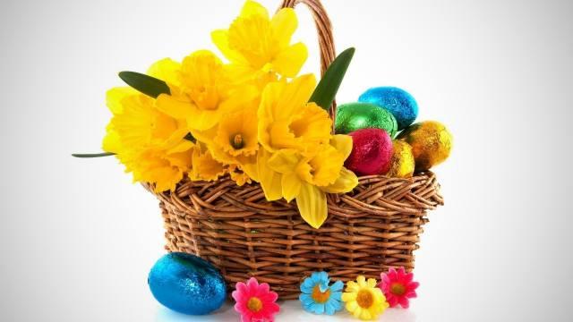 Easter, EGGS, basket, daffodils