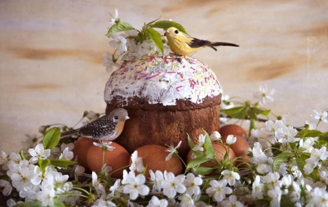 jaro, větvičky, květiny, třešeň, svátek, velikonoce, Velikonoce, Koláč, pečivo