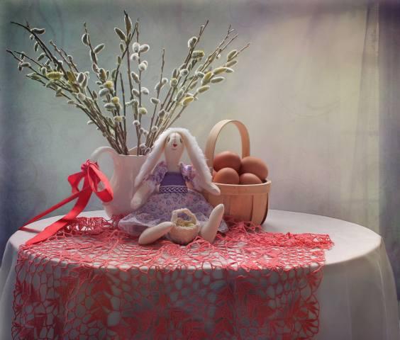 праздник, пасха, стол, скатерть, кувшин, верба, корзина, ЯЙЦА, игрушка