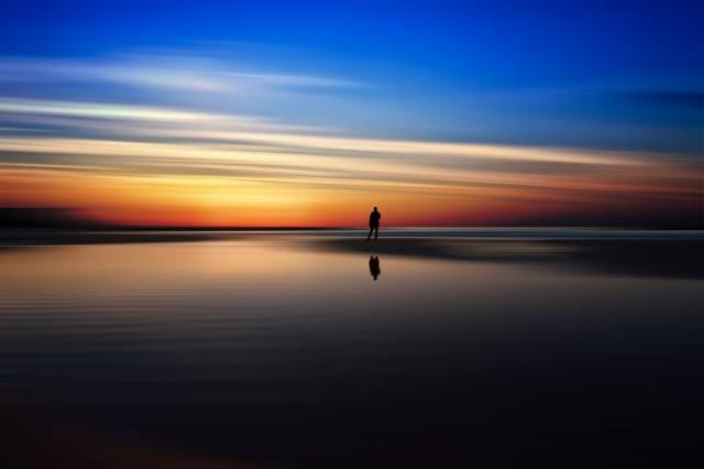 пейзаж, закат, небо, отражение