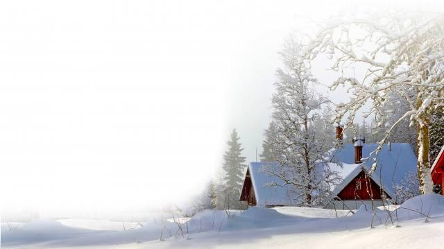zima, stromy, sníh, závěje, chaty