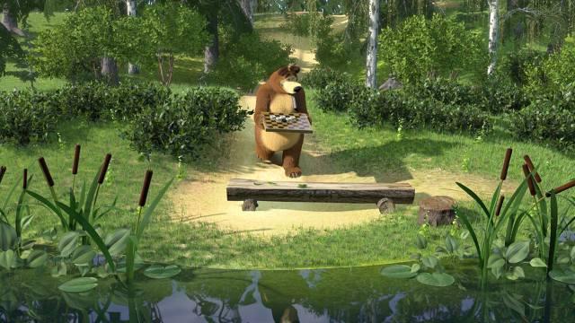 Masha and the bear, bear, chess, cartoon
