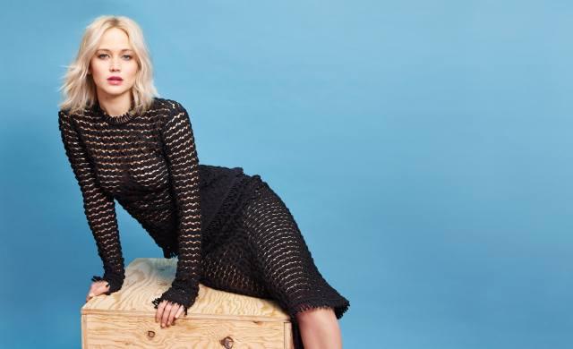 Дженніфер Лоуренс, актриса, блондинка, сукню, синій, фон