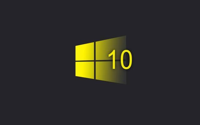 в Windows 10, желтый, Логотип, минимализм