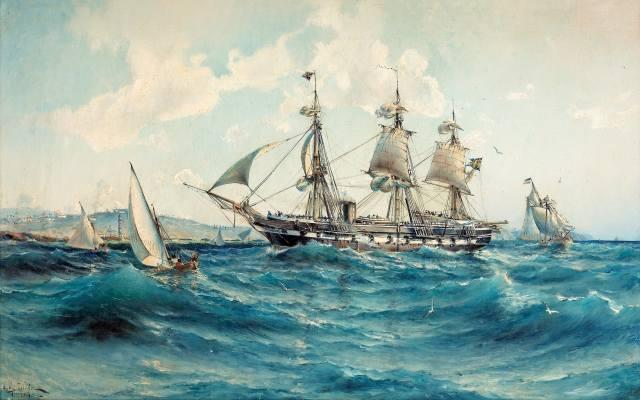 корабль, море, живопись