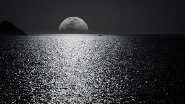 луна, море, ночь