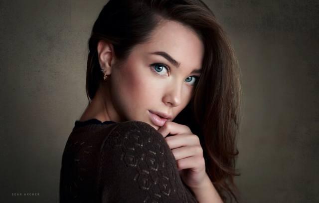 женщины, лицо, Sean Archer, простой фон, голубые глаза