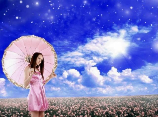 девушка, в розовом, поле, цветы, небо, облака, весна