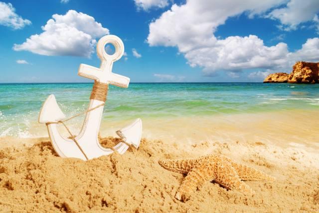 океан, вода, берег, песок, якорь, звезда, небо, облака, скалы