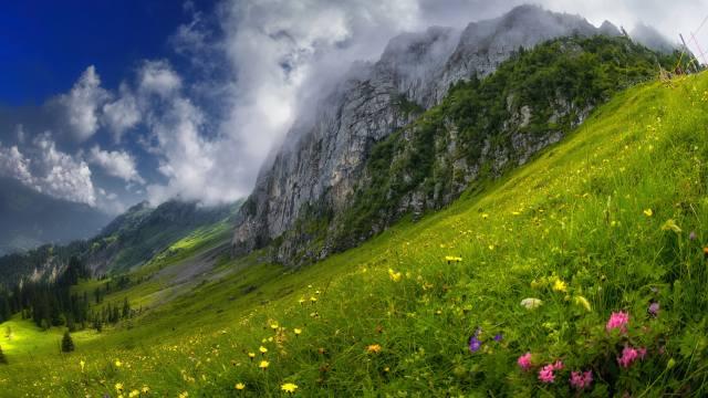 гора, схил, облока, природа
