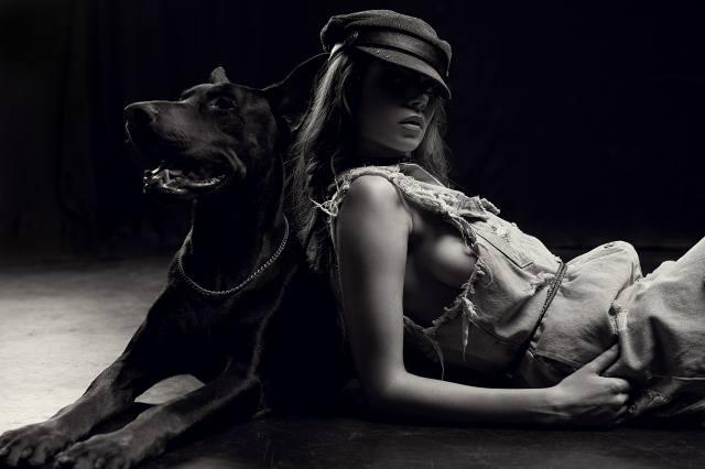 дівчина, модель, позує, доберман, собака, михаил базаров