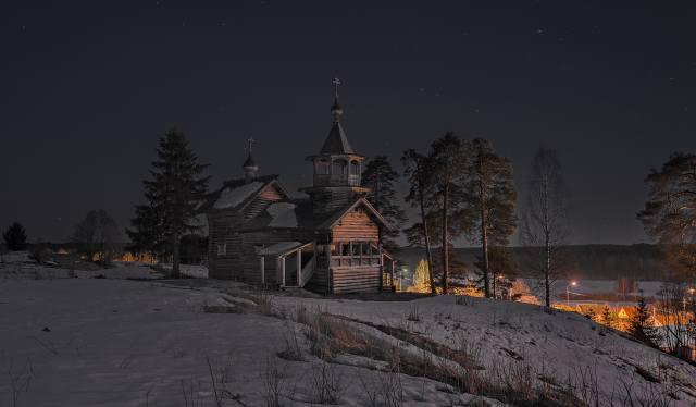 Сергей Гармашов, карелія, природа, зима, сніг, село, церква, дерева, сосни