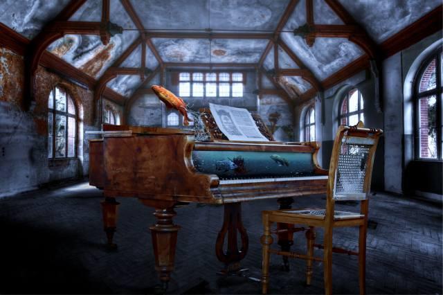 рояль, аквариум, зал, 3d