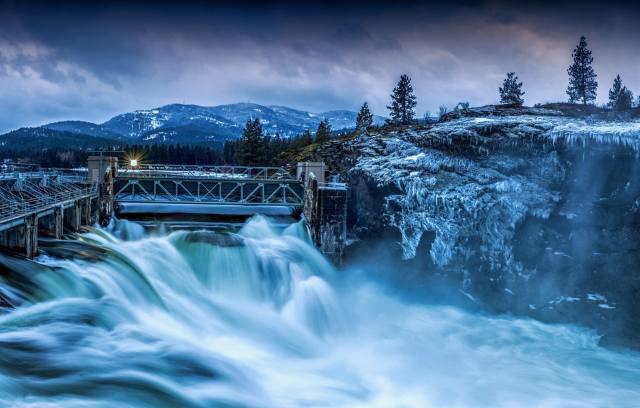 природа, зима, дерева, Ліси, гори, річка, гребля, лід, бурульки