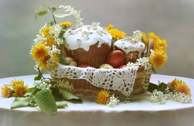 EGGS, cakes, dandelions, cherry, basket, Easter