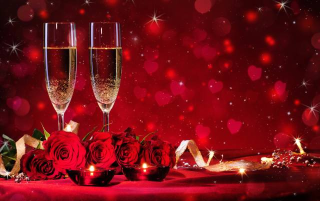 holiday, flowers, rose, candles, tape, glasses, PAIR, champagne, hearts