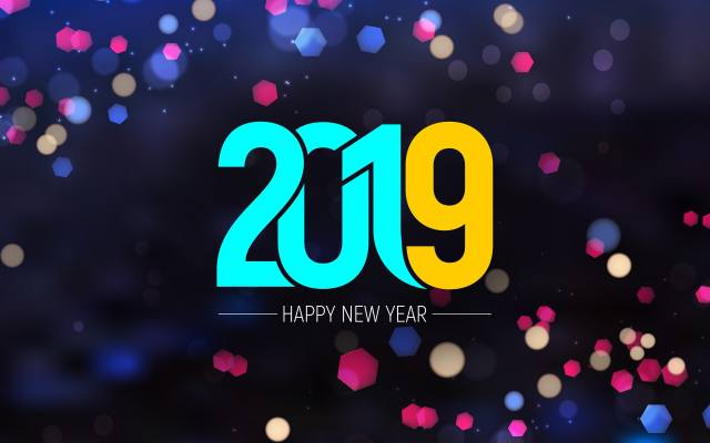Happy new year, 2019, Abstract, art