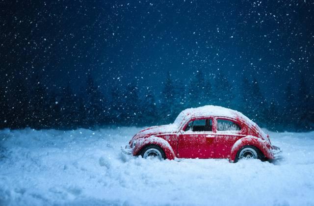 Car, retro, winter, snow, snowfall, vintage, Red, Old