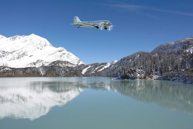 the plane, dc-3, water, mountains, landing