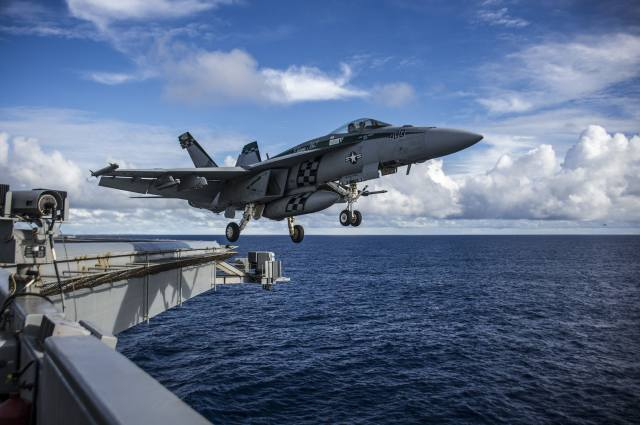 the plane, Fighter, the rise, the carrier, the ocean, the sky