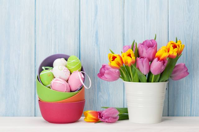holiday, Easter, Board, bucket, flowers, tulips, миски, EGGS, eggs