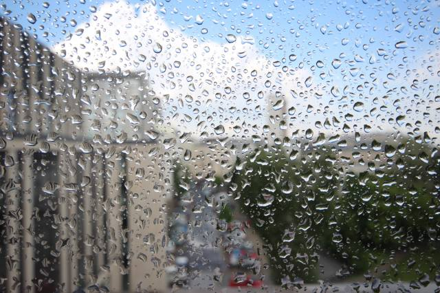 window, glass, the rain, drops, the city, landscape