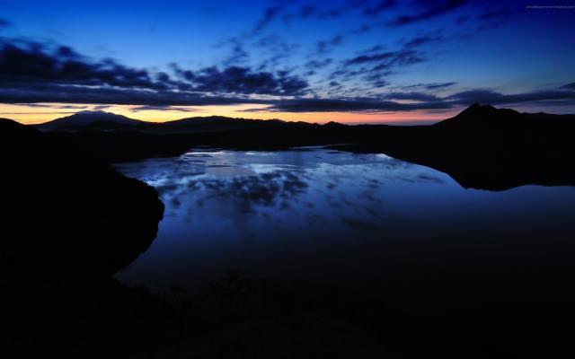 řeka, noc, západ slunce, nebe, příroda