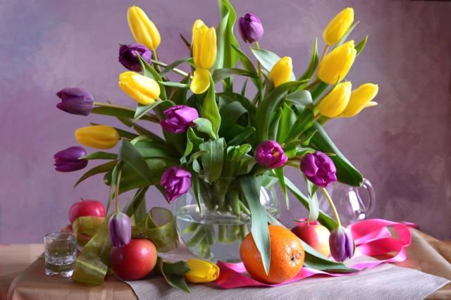 váza, květiny, tulipány, ovoce, pomeranč, jablko, páska, sklenici