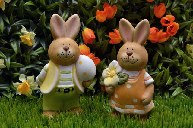 grass, flowers, tulips, daffodils, figures, hares, Easter, holiday