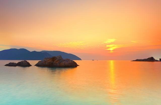landscape, the ocean, sunset, horizon